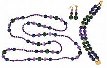 Necklace with matching bracelet and earrings, 14 karat yellow gold with malachite, amethyst, and lapis lazuli beads, necklace 43