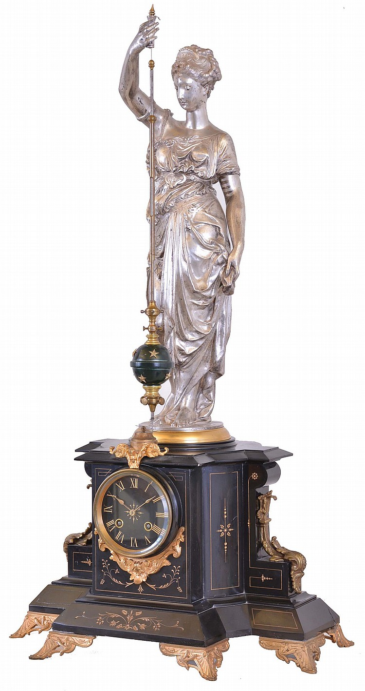 France, a monumental figural mantel clock with conical pendulum, the black slate case with gilt, incised line decoration and mounted with cast foliate ornament, the top with silvered, standing female figure in flowing garb, with right arm held aloft