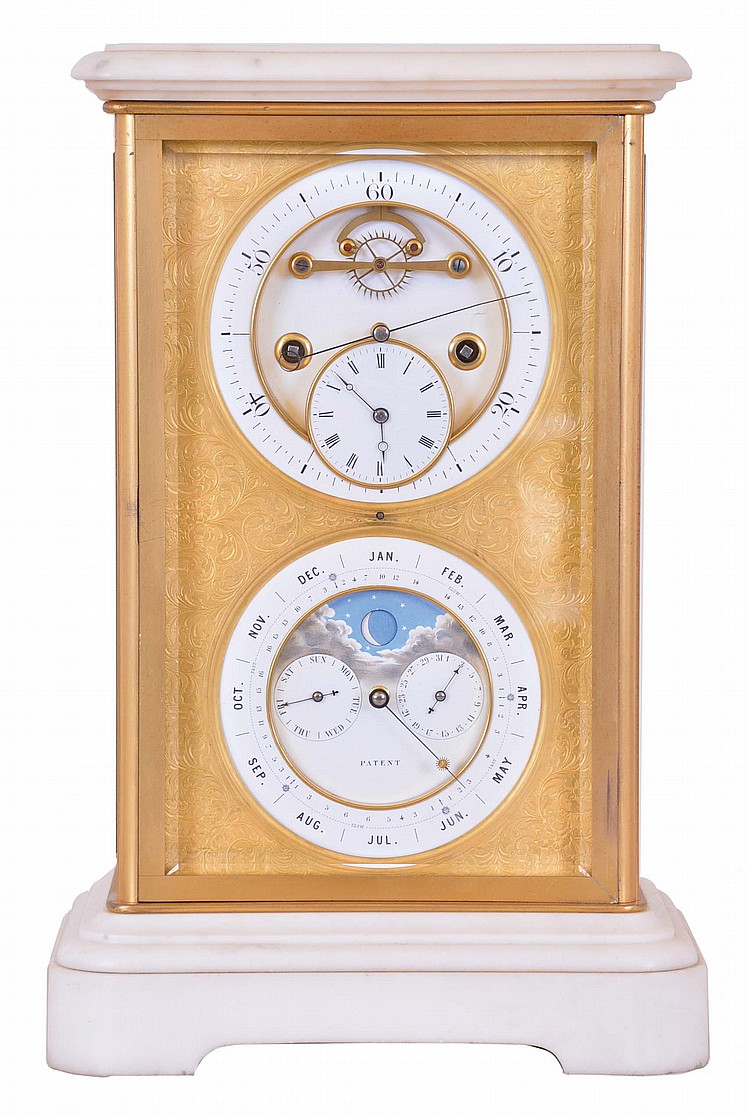 Brocot & Delettrez, Paris, for J. Silvani, 13 & 14 Kings Road, Brighton, mantel clock with sweep seconds and Brocots perpetual calendar, the case with four bevelled glasses set in gilt bronze frames, with white marble base and top, gilt dial mask