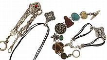 Jewelry lot, most in silver and gold filled, many items marked sterling, including charms, pendants, pins, chains, scent bottle with funnel, bracelet, and more, approximately 14 Troy oz.
