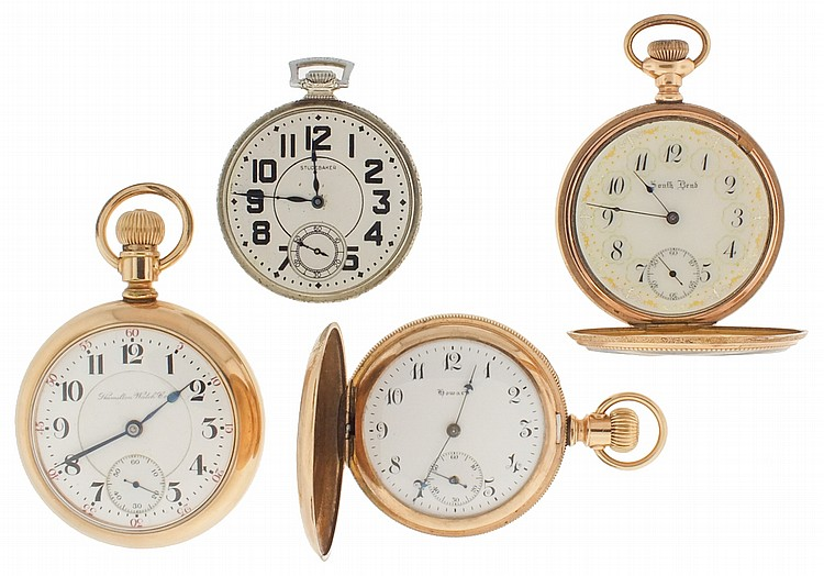 Pocket watches- 4 (Four), the first an 18 size Hamilton 936, 17 jewel damascened nickel movement, Arabic numeral white enamel dial, gold filled swingout case, serial #244547, the next a 16 size South Bend, 17 jewel damascened nickel movement, Ohara