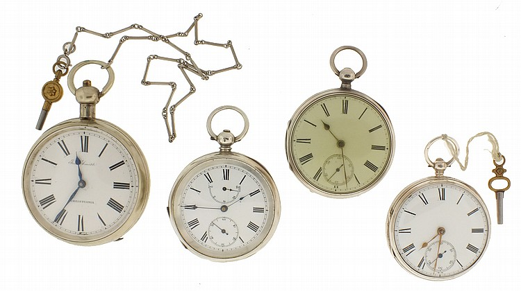 Pocket watches- 4 (Four), the first a large lever fusee, dial signed
