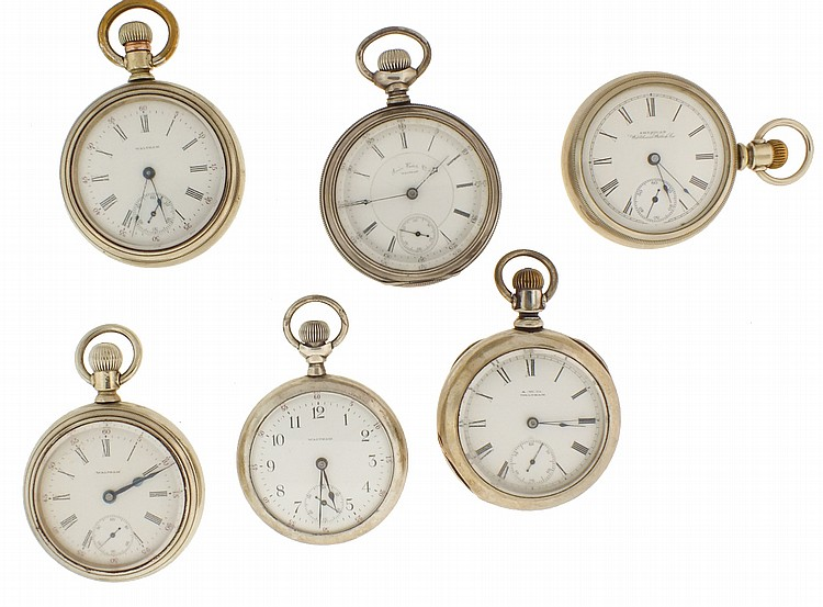 Pocket watches- 6 (Six), all 18 size Waltham, 7- 15 jewel nickel and gilt movements, white enamel dials, sterling, coin, and nickel open face cases