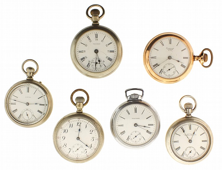Pocket watches- 6 (Six), all 18 size Waltham, 7- 15 jewel nickel and gilt movements, white enamel dials, nickel and gold filled open face cases