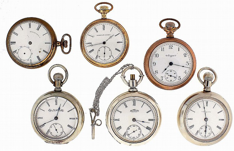 Pocket watches- 6 (Six), 16 and 18 size, Elgin and Waltham, 7- 15 jewel nickel and gilt movements, white enamel dials, coin silver, nickel, and gold filled open face cases