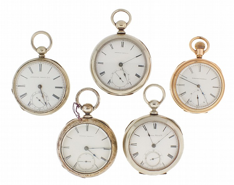 Pocket watches- 5 (Five). The first a n 18 size Waltham