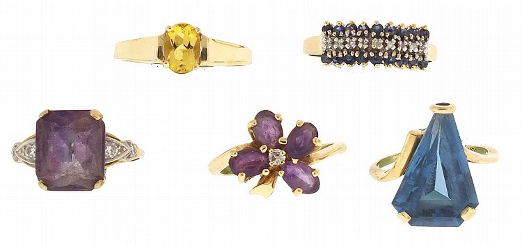 Rings- 5 (Five), all 14 karat yellow gold, the first set with a triangular blue topaz, 12 x 18mm, size 6, the next with 4 leaf clover form arrangement of oval amethysts with a central diamond, size 6 1 / 2, the next with a single oval citrine, size
