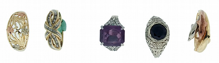 Rings- 5 (Five), the first in 14 karat white gold, set with a 1.9 carat garnet, size 6, the next in 14 karat white gold, set with a 10 x 12mm amethyst, size 5 1/4, the third in 10 karat yellow gold with multicolor gold flowers, size 9, the next in 10