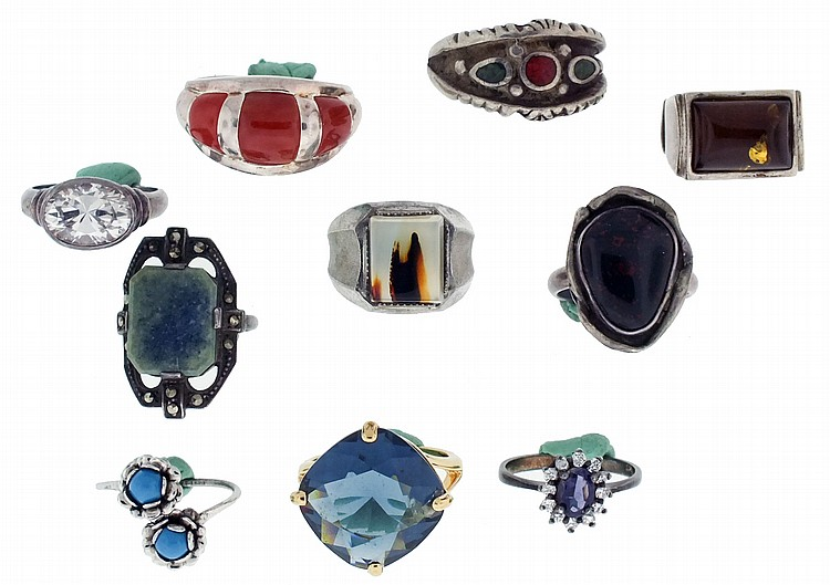 Rings- 10 (Ten), all silver, some marked sterling, one with gold wash, and set with various stones including bloodstone, agate, jasper, turquoise, amethyst, and others, 70.8g TW