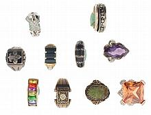 Rings- 10 (Ten), all silver, some marked sterling, some with gold wash, and set with stones of various cuts and colors, 80.6g TW