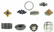 Rings- 10 (Ten), all silver, some marked sterling, two with gold wash, one with unusual wave design and set with marcasite, others set with stones of various cuts and colors, 60.4g TW