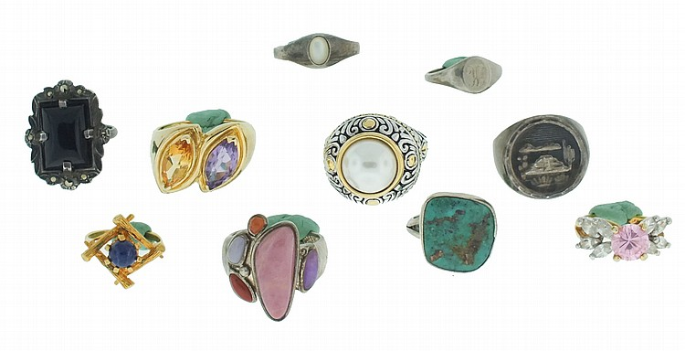 Rings- 10 (Ten), eight silver, some marked sterling, three with gold wash, set with stones of various cuts and colors, 68.9g TW
