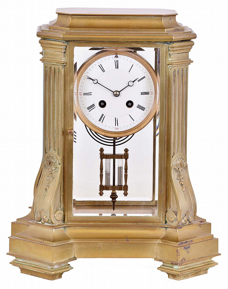 France, for Tiffany & Co., crystal regulator, architectural case with canted corners on a stepped and molded base, the corners decorated with fluted pilasters on inverted corbels, and supporting the stepped, molded top, Roman numeral white enamel