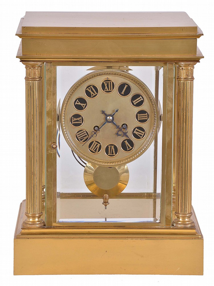 France, crystal regulator, the oversize, polished brass case with columns at the corners, and with four bevelled glass panels, Roman numeral brass dial, blued steel hands, 8 day time and strike pendule de Paris movement with brass pendulum