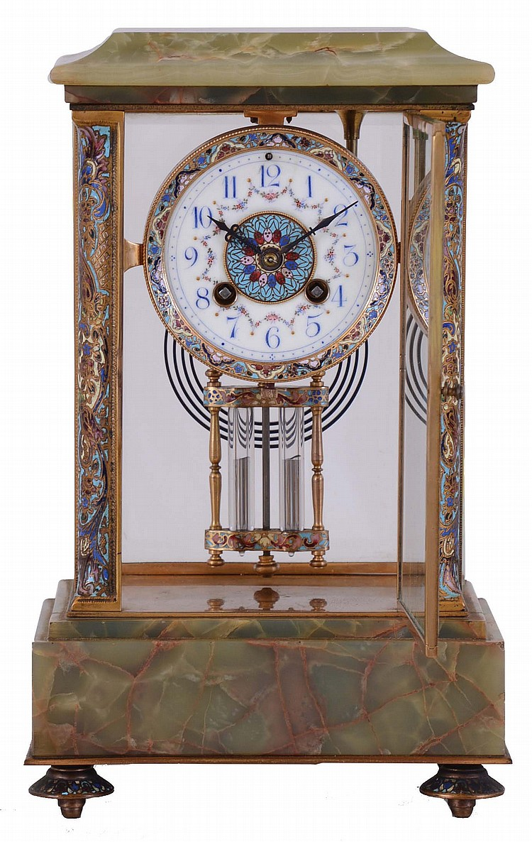 French, Marti & Cie, 8 day, time and strike spring brass movement onyx and cloisonne crystal regulator.