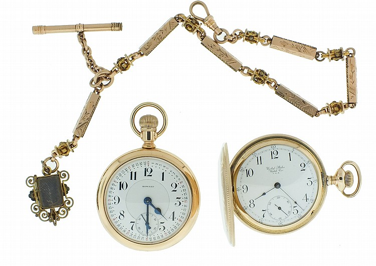 Pocket watches- 2 (Two), and a chain, the first a 16 size Howard series 9, 17 jewel nickel movement, Montgomery Arabic numeral white enamel dial, gold filled open face case, serial #982530, the other a United States Watch Co. Waltham, 7 jewel nickel