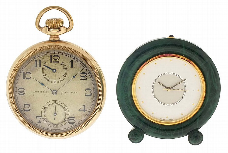 Pocket watch and an alarm clock, Longines 8 day pocket watch with wind indicator, 17 jewel nickel movement, gold filled open face case, Arabic numeral silvered dial, serial #3894491, together with a small Tiffany & Co. quartz alarm clock in a faux