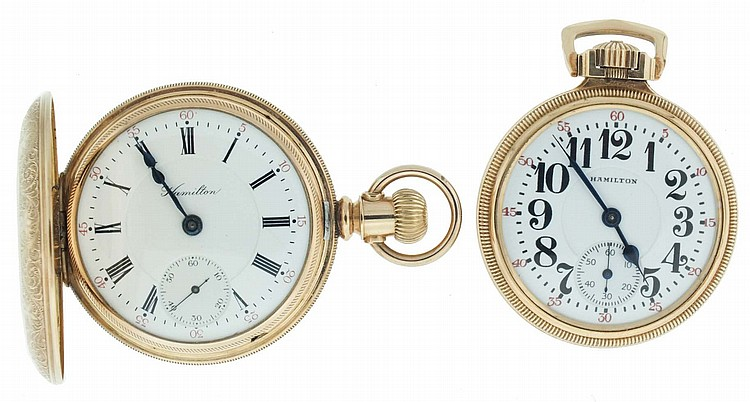 Pocket watches- 2 (Two), Both Hamilton, the first an 18 size