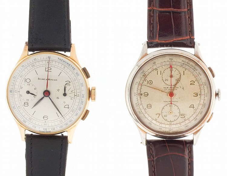 Wrist watches- 2 (Two), both chronographs, the first by Baume & Mercier, 18 karat rose gold case, 17 jewel nickel movement, Arabic numeral brushed metal dial with 30 minute register and constant seconds, blued steel leaf hands, 38.2g TW, the other