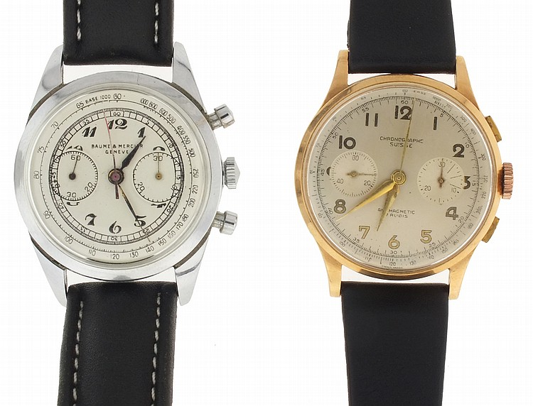 Wrist watches- 2 (Two), both chronographs, the first marked Chronographe Suisse, 18 karat rose gold case, 17 jewel nickel movement, Arabic numeral metal dial with 30 minute register and constant seconds, gilt alpha hands, 45.7g TW, the other marked
