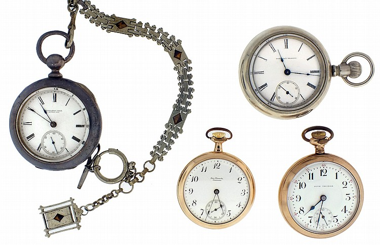 Pocket watches- 4 (Four), the first an 18 size Hampden, keywound 11- 15 jewel gilt movement, marked