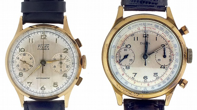 Wrist watches- 2 (Two), both chronographs, the first signed Fludo, 18 karat rose gold case, 17 jewel nickel movement, Arabic numeral metal dial with 30 minute register and constant seconds, gilt hands, 41.2g TW, the other signed Doxa, gold filled and