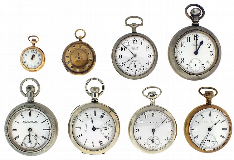 Pocket watches- 8 (Eight), including a Swiss cylinder with 18 karat yellow gold case and 10 karat dial, 36mm, 33.2g TW, a New England Watch Co. duplex with 14 karat yellow gold case, 27mm, 16.8g TW, five 18 size watches including N.Y. Standard,