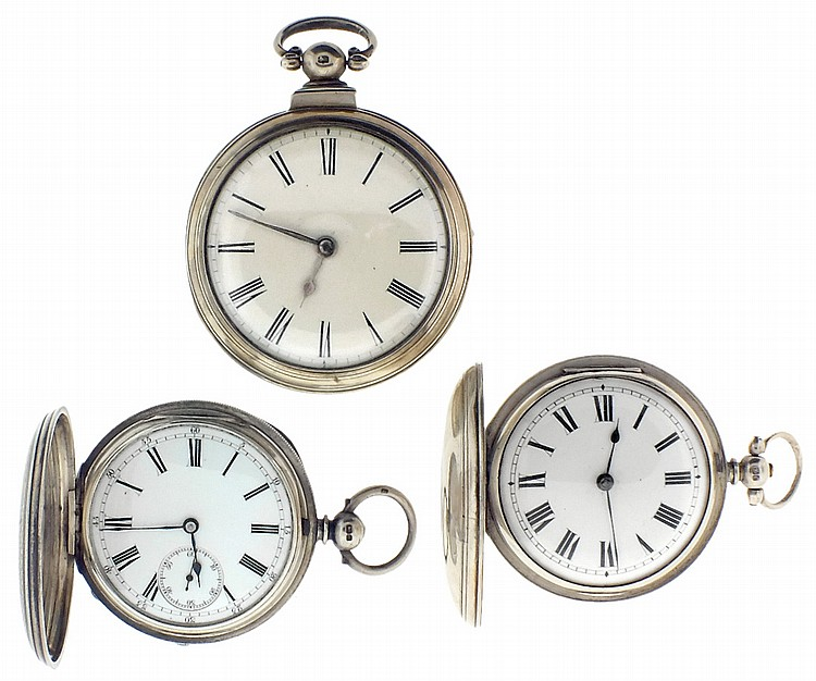 Pocket watches- 3 (Three), all English fusees, the first a verge by T.M. Jackson, London, gilt full plate movement with pierced and engraved balance cock, Roman numeral white enamel dial, unusual sterling silver pair case with Birmingham hallmark and