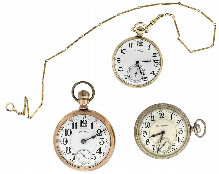 Pocket watches- 3 (Three), all Illinois, the first an 18 size, 17 jewel two tone movement, Arabic numeral white enamel dial, gold filled open face case, serial #3097847, the next a 16 size Sangamo, marked