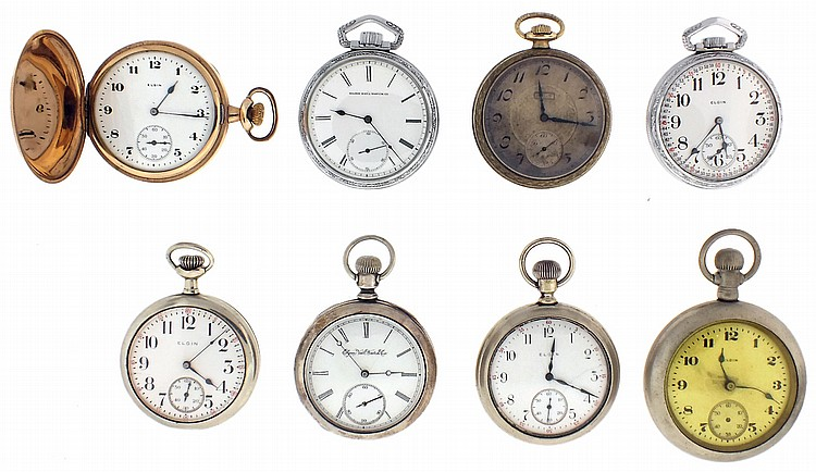 Pocket watches- 8 (Eight), 16 and 18 size Elgin, 7- 15 jewel nickel and gilt movements, white enamel dials, coin silver, nickel, and gold filled open face and hunting cases