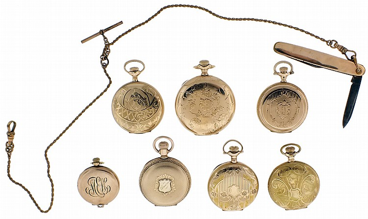 Pocket watches- 7 (Seven), by Elgin, Hampden, and Excelsior, 6- 5 / 0 size, 7- 13 jewel, enamel and metal dials, gold filled hunting and open face cases, together with a gold filled pocket watch chain and knife
