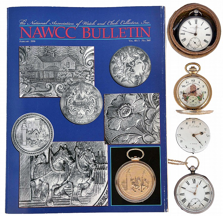 Pocket watches- 4 (Four), the first an English lever fusee by J.W. Benson, gilt full plate movement, Roman numeral white enamel dial, sterling silver consular case with London hallmark, and date letter for the year 1877, serial #13681, 50mm, with