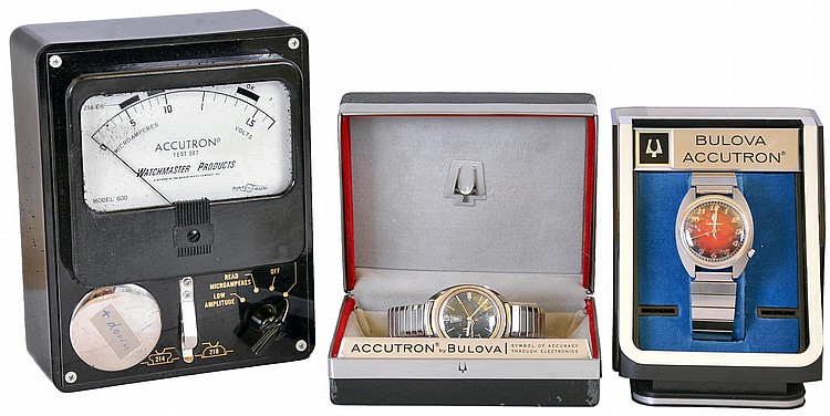 Wrist watches- 2 (Two), both Bulova Accutron, the first with cal. 2180 movement, stainless steel case, and red dial, with box, serial #T002050, the other with cal 2182 movement, stainless steel case, and blue dial, with box, serial #B01601, together