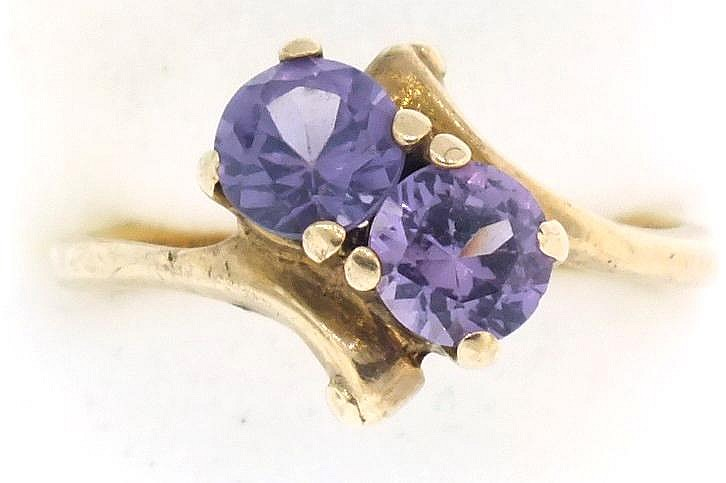 Amethyst ring, size 5 1/2, 10K yellow gold