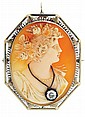 Cameo pin pendant, carved shell depicting a young