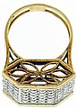 Vintage 14k white and yellow gold cocktail ring