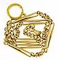 Mans pocket watch chain, 18 karat yellow gold with
