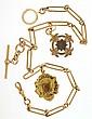 Mans pocket watch chain, 9 karat rose gold, with