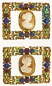 Buckles- 2 (Two) gilt set with coral cameos and
