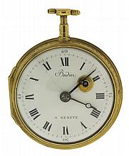 Bordier, a Geneve, Switzerland, fusee pocket watch, key wind and set, gilt full plate movement with pierced and engraved balance bridge, verge escapement and Tompion regulator in a gilt consular open face case with multicolor enamel scene depicting