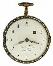 Fres. Veigneur, a Geneve, Switzerland, fusee pocket watch, key wind and set, gilt full plate movement with pierced and engraved balance bridge and verge escapement in a gilt, consular open face case with paste set bezel and rear cover, the back also