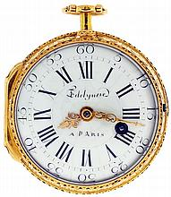 Edelynne, a Paris, France, fusee pocket watch, key wind and set, gilt full plate movement with pierced and engraved balance bridge, verge escapement and Tompion regulator in an 18 karat yellow gold, consular open face case, the back with enamel