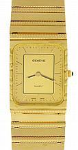 Geneve, Switzerland, wrist watch, 14 karat yellow gold rectangular case with integral band, 6 jewel ETA 976.001quartz movement, two tone metal dial with baton markers and hands, 62.7g TW, c1995
