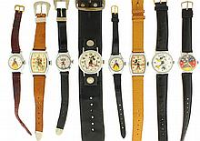 Wrist watches- 15 (Fifteen), including Hopalong Cassidy, Snow White, Mickey and Minnie Mouse, Roy Rogers, and others, and an antler mounted with a watch