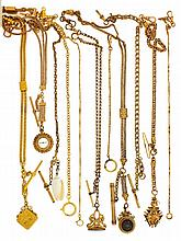 Watch chains- 13 (Thirteen) gold filled watch chains and 5 (Five) short fobs, including a single Albert with slide and gold filled locket, single Albert chain with masonic fob featuring a skull and crossbones, the skull with garnet set eyes, single