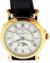Patek, Philippe & Cie., Geneva, Switzerland, Ref. 5059J, mans perpetual calendar wristwatch, 31 jewels automatic caliber 315/136, adjusted to 5 positions, isochronism and temperature, cotes de Geneve decorated, nickel plate movement with lever