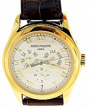 Patek, Philippe & Cie., Geneva, Switzerland, Ref. 5035J, mans annual calendar wrist watch, 35 jewels, automatic caliber 315/198, adjusted to 5 positions, isochronism and temperature, cotes de Geneve decorated nickel plate movement with lever