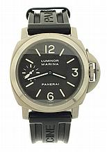 Officine Panerai, Neuchatel, Switzerland, Luminor Marina divers wrist watch, 17 jewels, manual winding nickel plate movement with lever escapement and whiplash micrometric regulator in a matte finished titanium case with brown dial, luminous indexes,