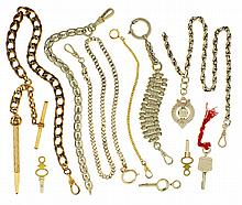 Watch chains- 5 (Five), one in sterling silver, rope twist link with bright cut silver fob, one curb link chain in sterling silver, two in nickel silver, and two gold filled, one with a gold filled mechanical pencil, together with four watch keys