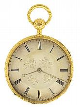 Breguet, Paris, France, man's thin quarter repeating pocket watch, 6 jewels, key wind and set, gilt plate Lepine caliber movement with cylinder escapement in an 18 karat, yellow gold, hinged back and bezel, engine turned and engraved open face case